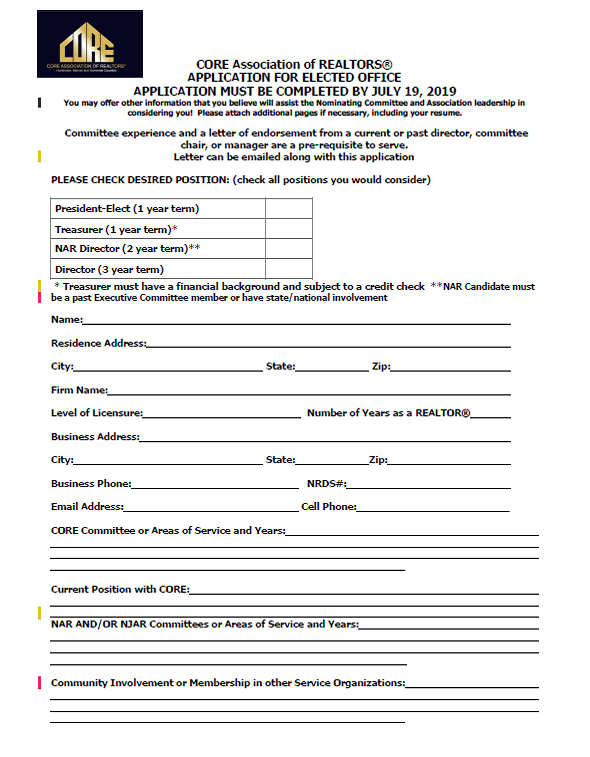 Application-for-CORE-BOD-2019 Ociation Board Application Form on board application letter, board game form, contact us form, strategic plan form, volunteer form, board information form, board background,